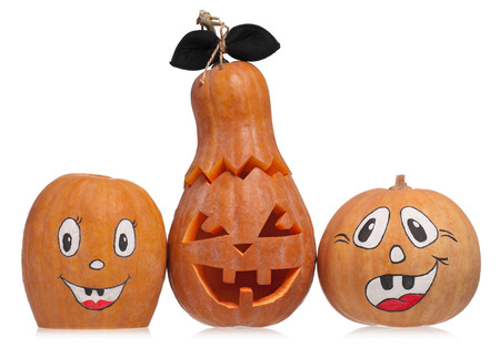 hollows: Scary halloween pumpkins isolated on white background Stock Photo