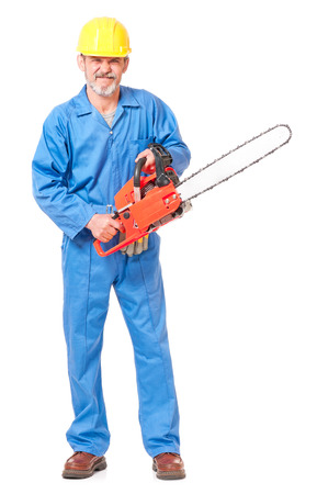 sawyer: Angry worker in a uniform with a chainsaw isolated on white background