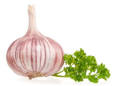 clean artery: Garlic bulb with fresh parsley on white background cutout Stock Photo