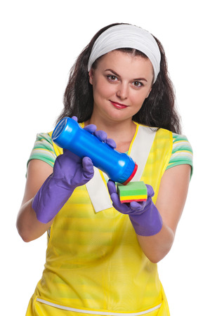 houseclean: Young housewife rejoices lives isolated on a white background