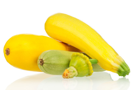 Yellow zucchini squash isolated on white background 写真素材