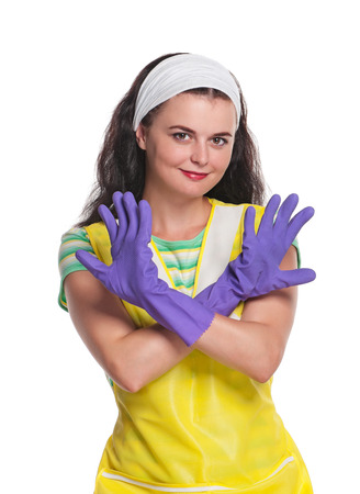 houseclean: Young housewife with rubber gloves isolated on white background Stock Photo