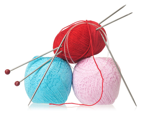 acrylic yarn: Acrylic and yarn threads for knitting isolated on white background Stock Photo