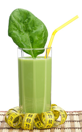 tubule: Delicious spinach smoothie with tubule on white background