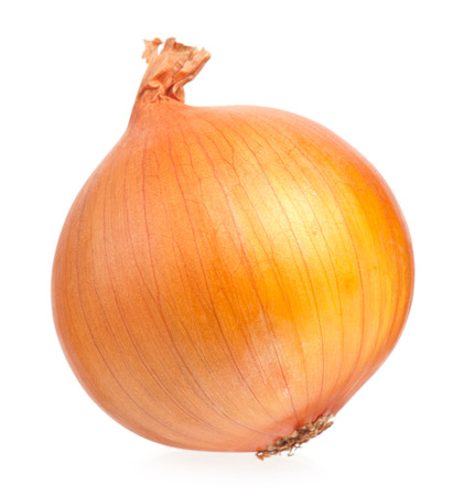 One yellow onion isolated on white background cutout