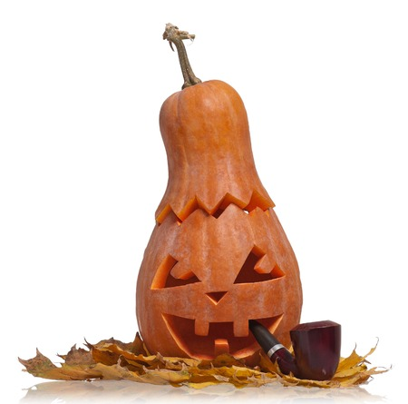 hollows: Halloween gourd with carving monster mug isolated on white background