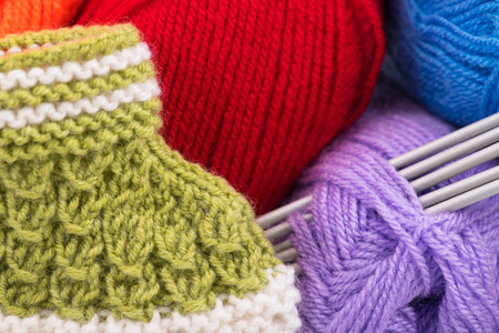 acrylic yarn: Bright acrylic yarn for knitting with cute little bootee