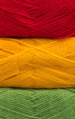 acrylic yarn: Bright acrylic yarn for knitting like a traffic light concept