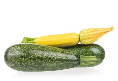 vegetable marrow: Bright blossoming raw vegetable marrow isolated on white background