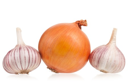 clean artery: Raw onion with garlic bulb isolated on white background Stock Photo