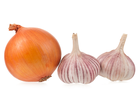 clean artery: Garlic bulbs with golden onion isolated on white background