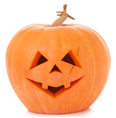 hollows: Terrible halloween pumpkin isolated on white background cutout Stock Photo