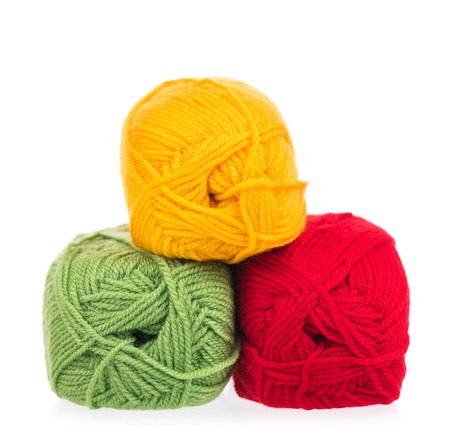 acrylic yarn: Bright acrylic yarn for knitting isolated on white background