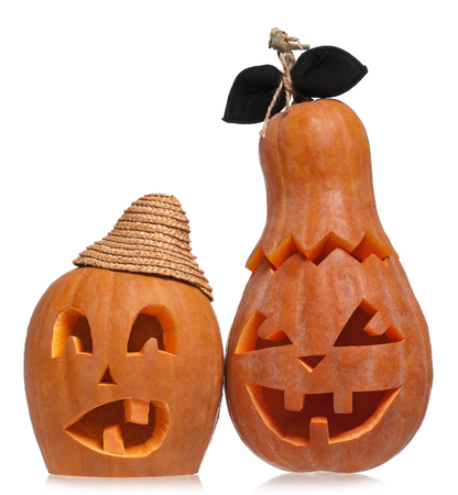 hollows: Terrible halloween pumpkins isolated on white background cutout Stock Photo