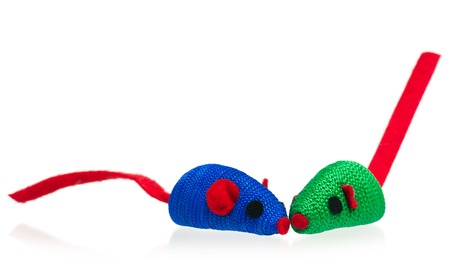 Toy mice for little kitten isolated on white background Stock Photo