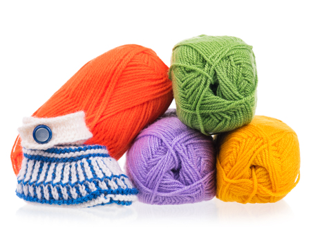 Bright acrylic yarn for knitting isolated on white background