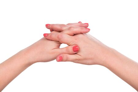 Young female hands isolated over white background