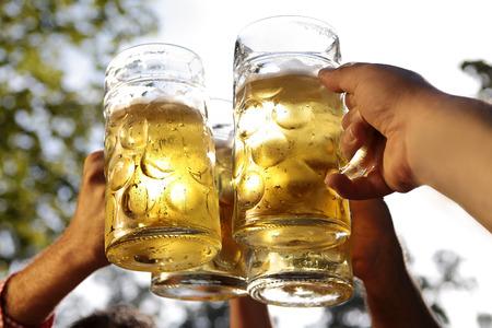 octoberfest: Saludos juntos en un jardín de cerveza bávaro