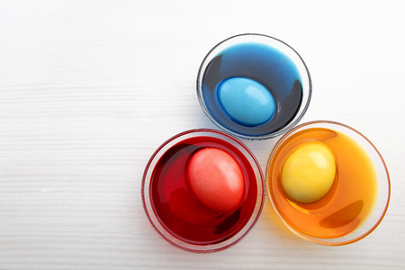 Three colored easter eggs photo