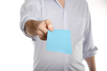 denunciation: Man holds a blue letter with termination