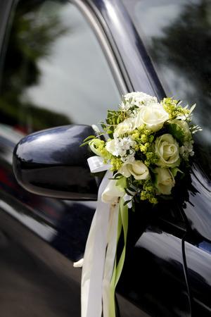 Flower decoration on a wedding car