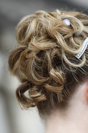Close-up of a blonde bridal hair style