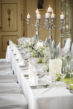 Laid wedding table with flowers photo