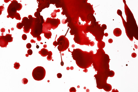 coagulate: Drops of blood in front of a white background Stock Photo