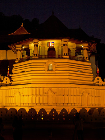 kandy: Buddhistic temple of tooth in Kandy, Sri Lanka at night