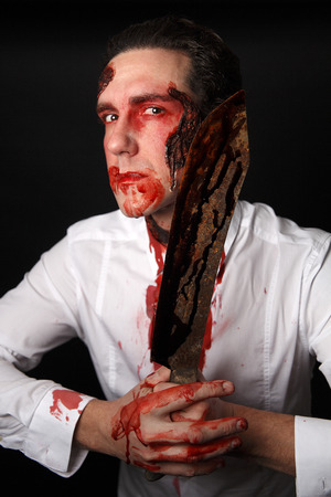 bloodstain: Psychopath with bloody knive in a white shirt