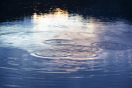 Water circles in the lake at night