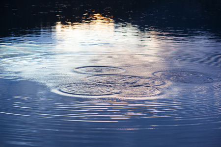 Water circles in the lake at night