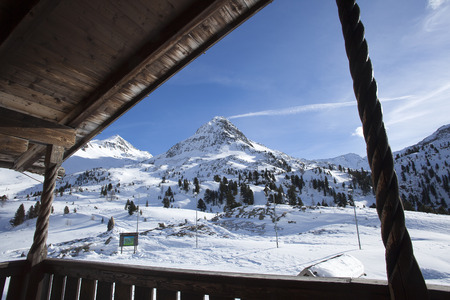 Beautiful view from a ski hut at the border crossing in the Austrian Alps photo