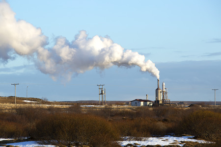 geothermal: Power plant of geothermal energy in Iceland