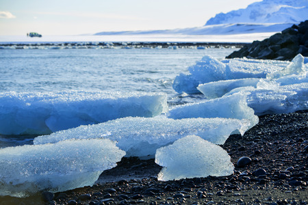 ice floes: Blue ice floes at glacier lagoon Jokulsarlon in Iceland