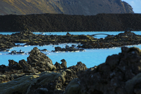 grindavik: Milky and blue water of the geothermal bath Blue Lagoon in Iceland