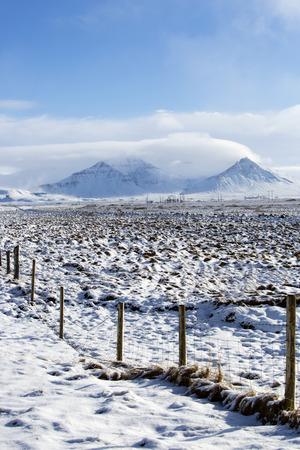 impressive: Impressive volcano winter mountain landscape in Iceland Stock Photo