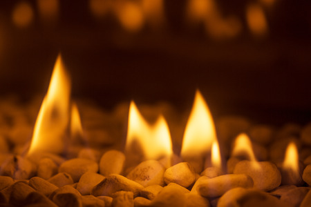 Closeup of burning flames in a chimney