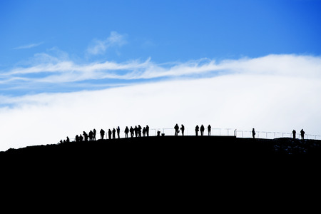 visitors: Visitors at a viewing platform with blue sky