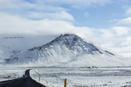 Impressive snowy landscape at the ringroad in Iceland