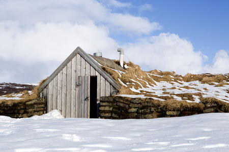 elves: Tiny hut for elves in snowy Iceland