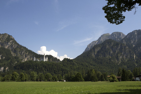 neuschwanstein: Panorama of castle Neuschwanstein in the Bavarian Alps; Germany