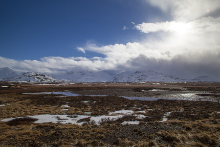 volcanic landscape: Snowy volcanic landscape on the Snaefellsnes peninsula in Iceland
