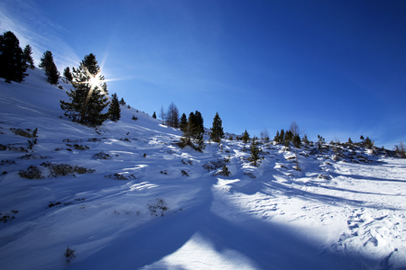 austrian: Snowy mountain landscape in the Austrian Alps with blue sky Stock Photo