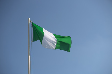 nigerian: Nigerian flag in front of blue sky in the wind