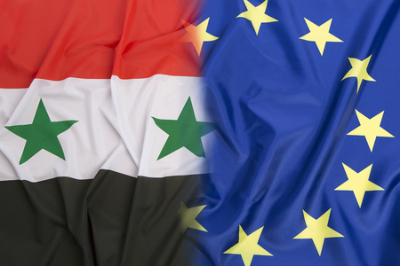 middle east peace: Syria flag vs.  European Union flag  as a background
