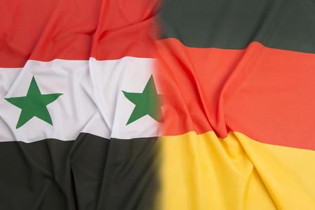 syria peace: Syria flag vs. Germany flag  as a background