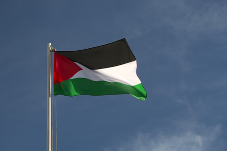 middle east conflict: Palestine flag in front of a blue sky