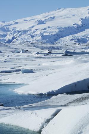 ice floes: Ice blocks at glacier lagoon Jokulsarlon, Iceland in wintertime