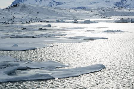 ice floes: Glacier lagoon Jokulsarlon, Iceland in wintertime